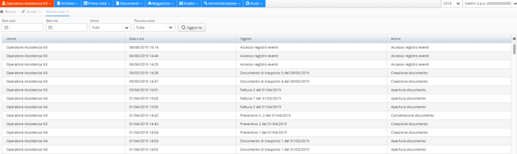 registro eventi utente