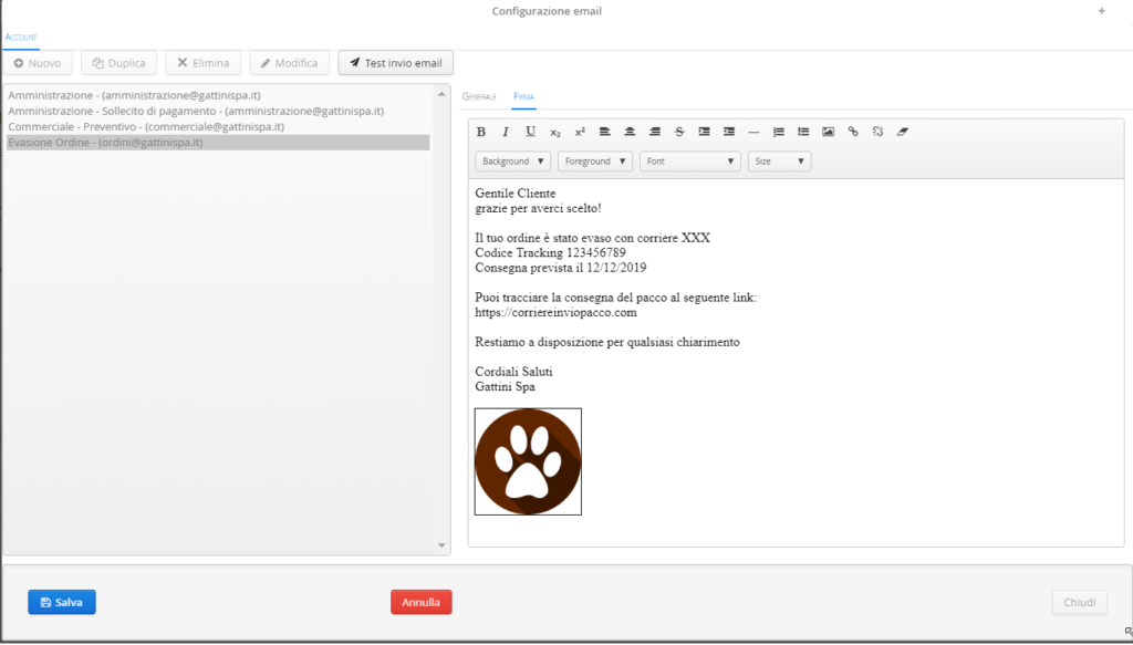 testo mail configurato impresacloud